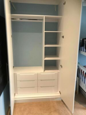 Combination of internal drawers, box shelving, top shelving and single hanging
