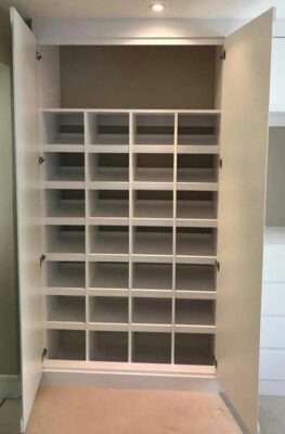 Combination of shoe rack and top shelving